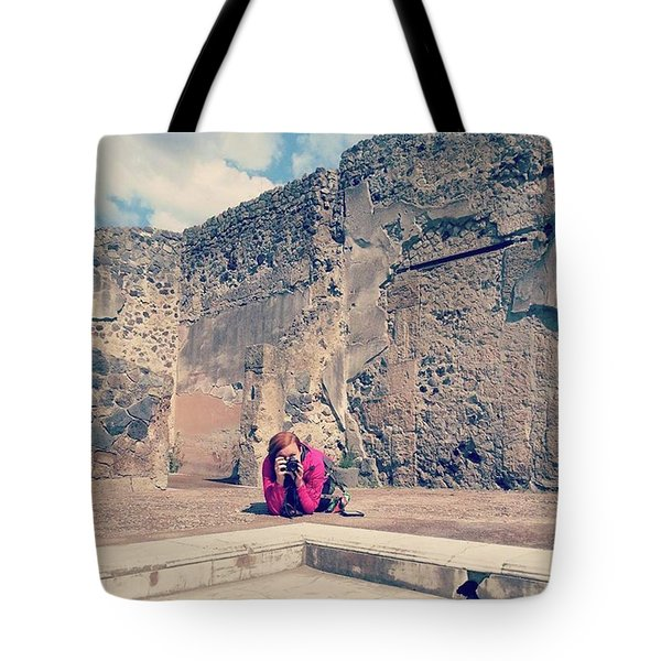 Taking Pictures Among Ruins Of Herculaneum Tote Bag