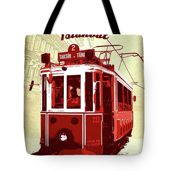 Taksim, Istanbul, Red Tramway Tote Bag