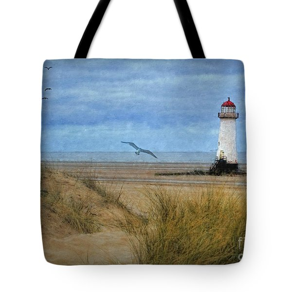 Tote Bag featuring the digital art Talacre Lighthouse - Wales by Lianne Schneider