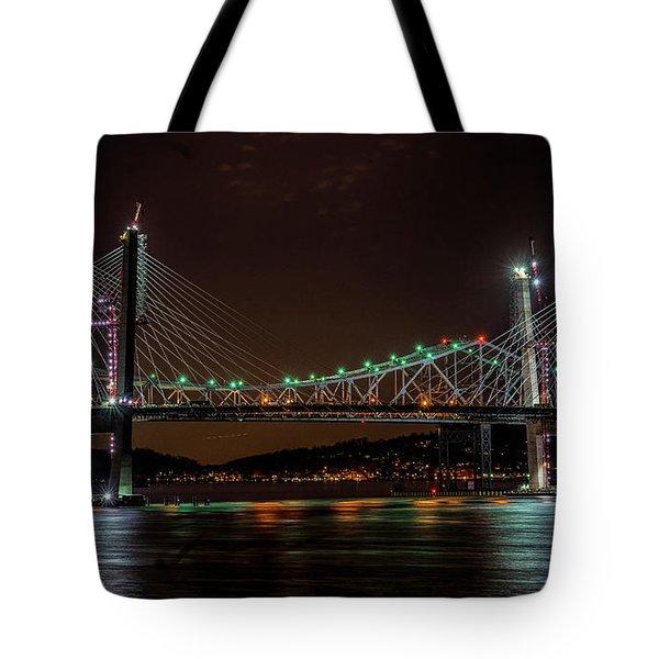 Tale Of 2 Bridges At Night Tote Bag