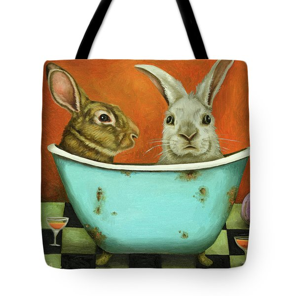 Tale Of Two Bunnies Tote Bag by Leah Saulnier The Painting Maniac