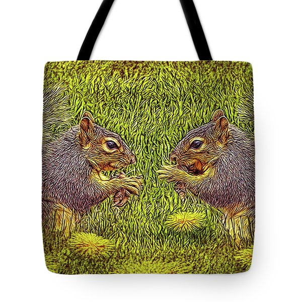 Tale Of Two Squirrels Tote Bag by Joel Bruce Wallach