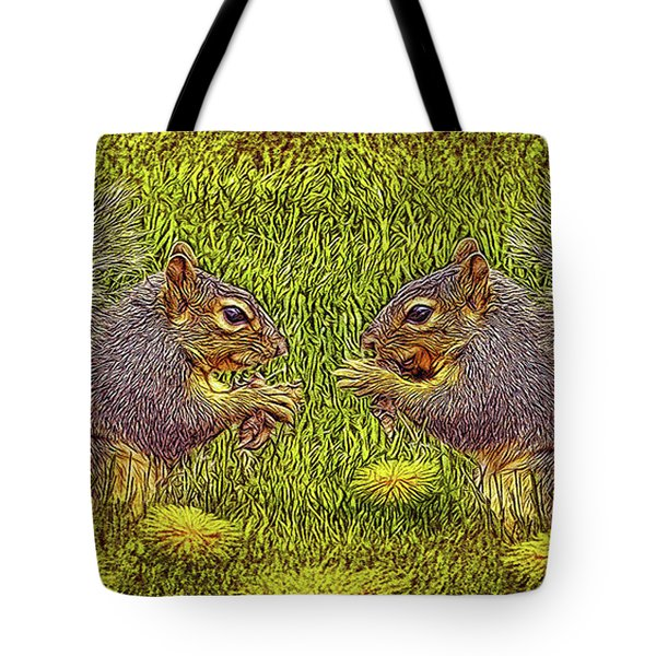 Tale Of Two Squirrels Tote Bag