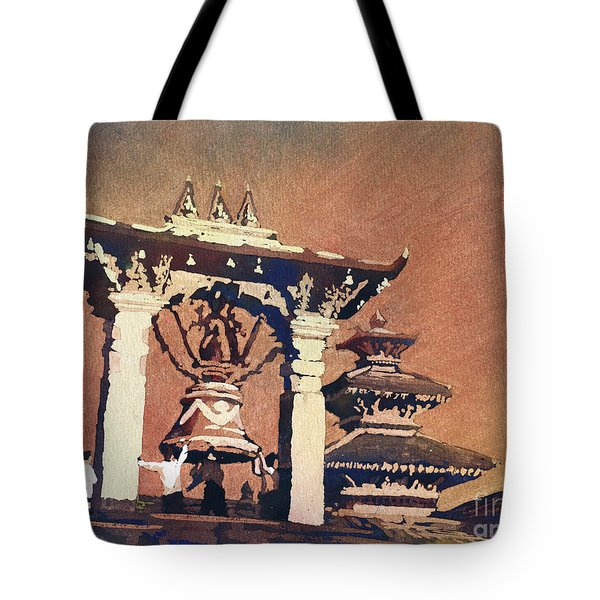 Tote Bag featuring the painting Taleju Bell- Patan, Nepal by Ryan Fox