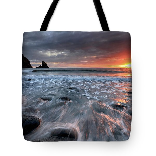 Talisker Bay Rocky Sunset Tote Bag