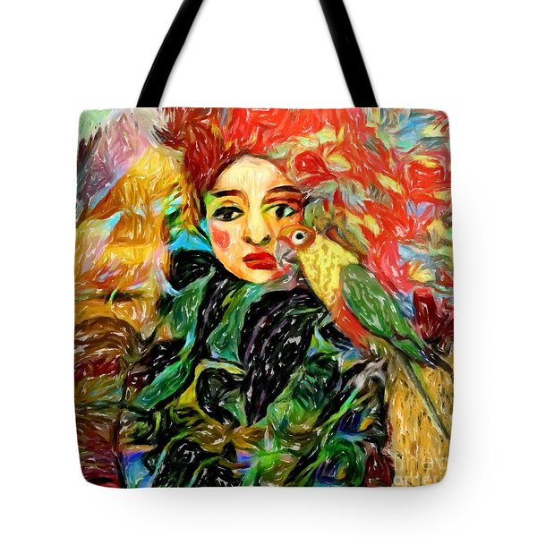 Tote Bag featuring the digital art Talk To Me by Alexis Rotella