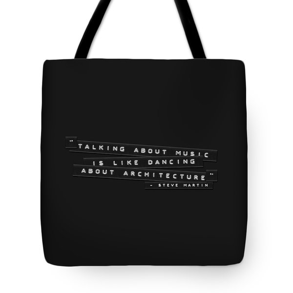 Tote Bag featuring the photograph Talking About Music Embossed Labels by Brian Carson