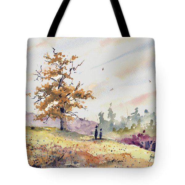 Tote Bag featuring the painting Talking To Dad by Sam Sidders