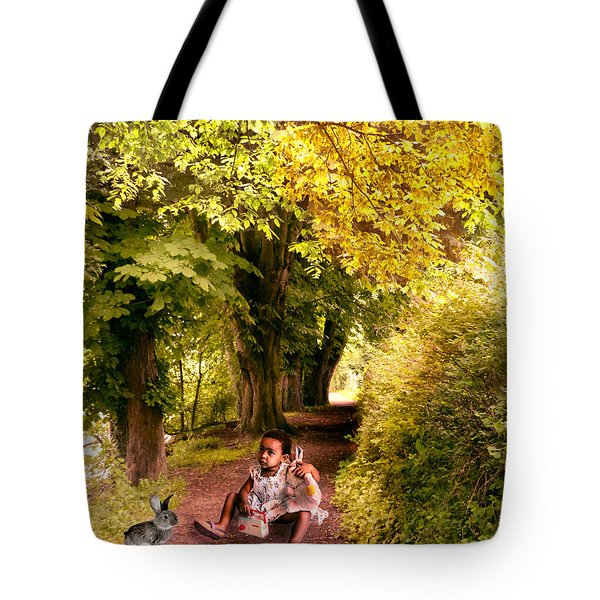 Talking To The Rabbit ... Tote Bag by Louloua Asgaraly