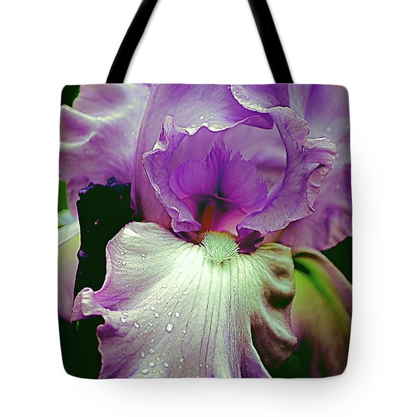 Tote Bag featuring the photograph Tall Bearded Iris In Lavender by Julie Palencia