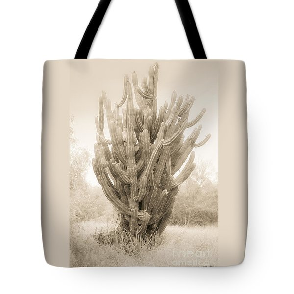 Tall Cactus In Sepia Tote Bag