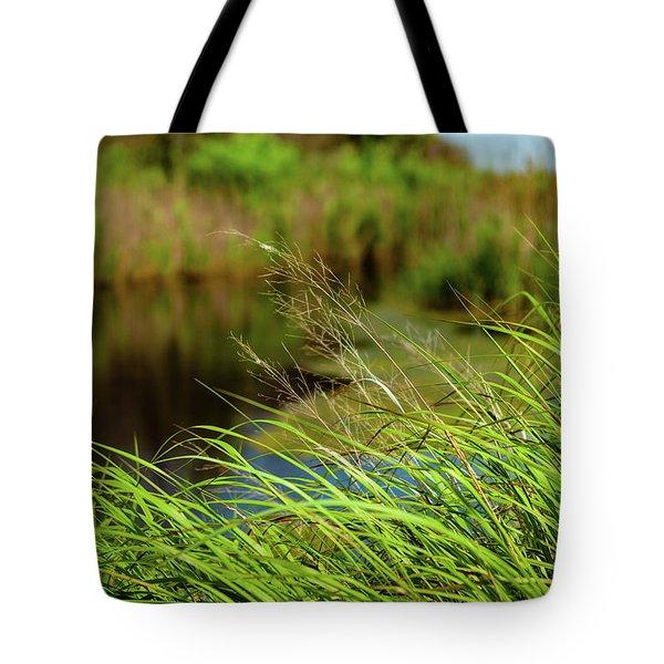 Tall Grass At Boat Dock Tote Bag