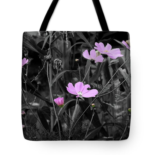 Tall Pink Poppies Tote Bag