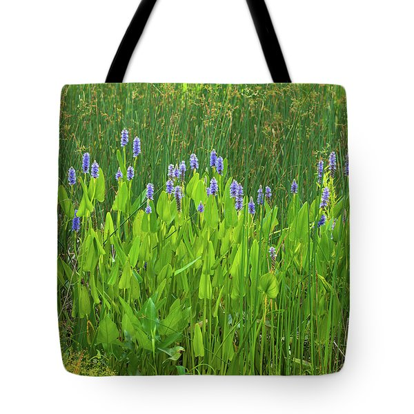 Tote Bag featuring the photograph Tall Purple And Blue Blooming Flowers by Dennis Dame