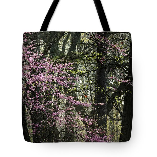 Tall Red Buds In Spring Tote Bag