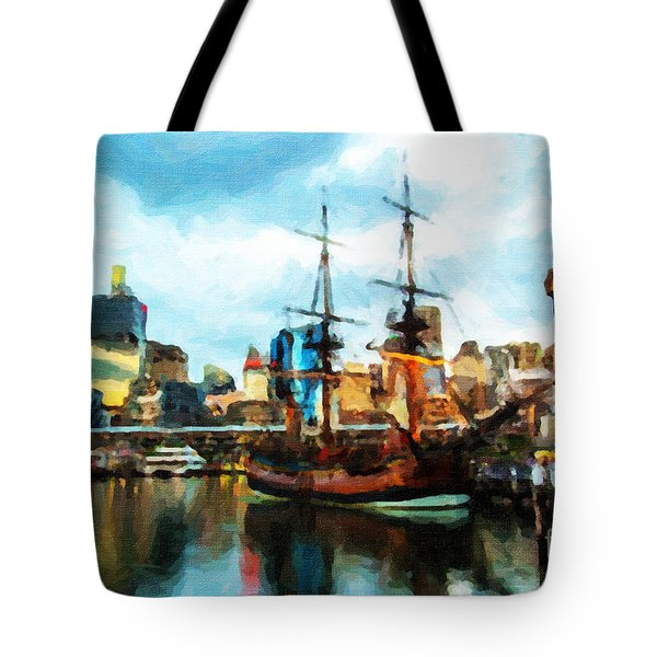 Tote Bag featuring the painting Tall Ship Darling Harbour by Chris Armytage