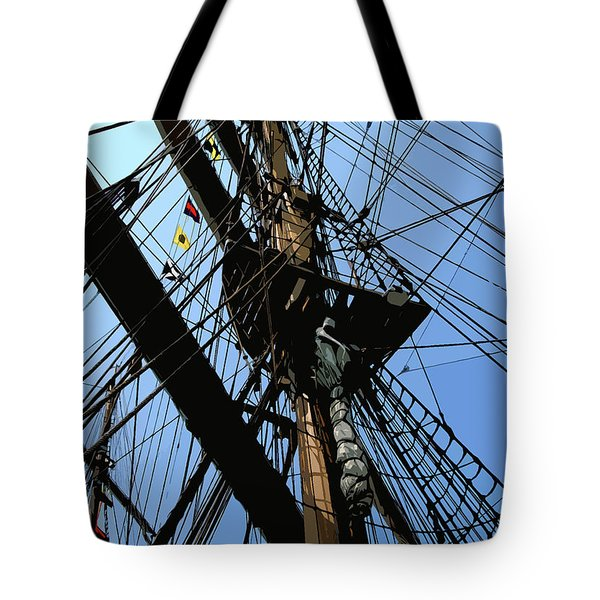 Tall Ship Design By John Foster Dyess Tote Bag