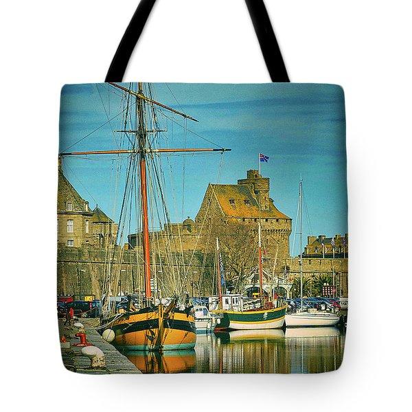 Tall Ship In Saint Malo Tote Bag