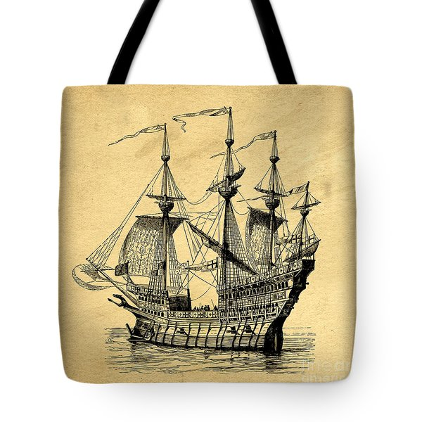 Tote Bag featuring the drawing Tall Ship Vintage by Edward Fielding
