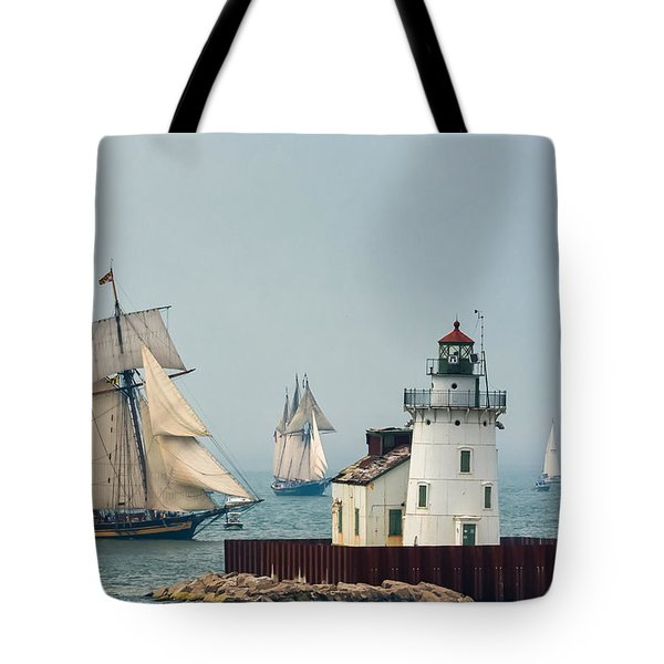 Tall Ships At Cleveland Lighthouse Tote Bag