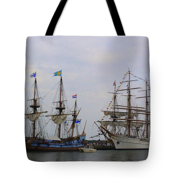 Historic Tall Ships Hermione And Sagres Tote Bag