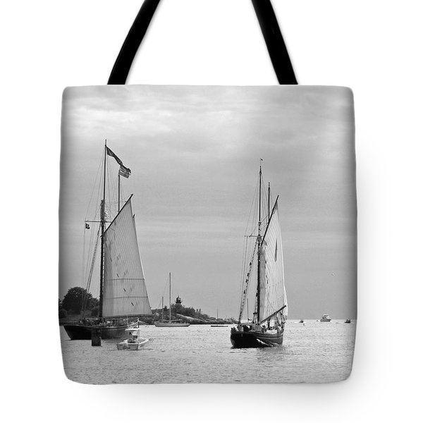 Tall Ships Sailing I In Black And White Tote Bag