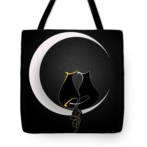 Tote Bag featuring the mixed media Talleycats - Moonglow by Larry Talley