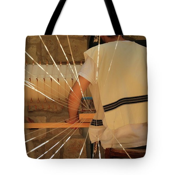 Tote Bag featuring the photograph Jewish Prayer Shawl Weaving In Tzfat by Yoel Koskas