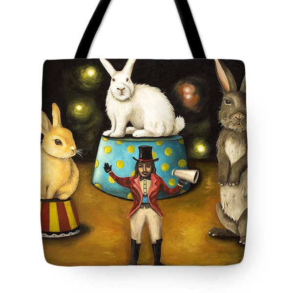 Taming Of The Giant Bunnies Tote Bag by Leah Saulnier The Painting Maniac