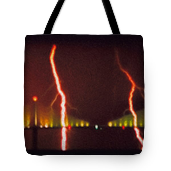 Tampa Bay Lightning Over The Skyway Bridge Tote Bag