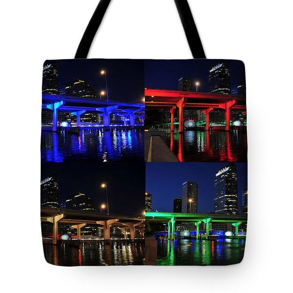 Tote Bag featuring the photograph Tampa's Colorful Bridges by David Lee Thompson