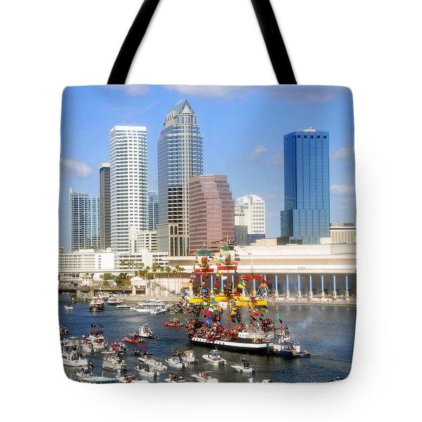 Tampa's Flag Ship Tote Bag by David Lee Thompson