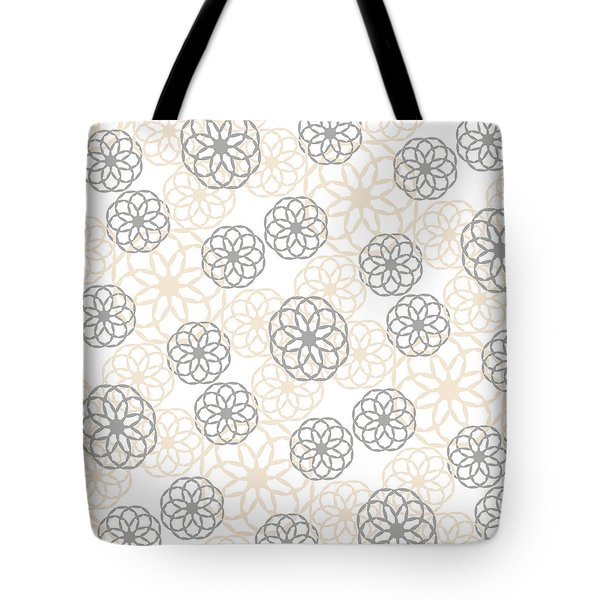 Tan And Silver Floral Pattern Tote Bag