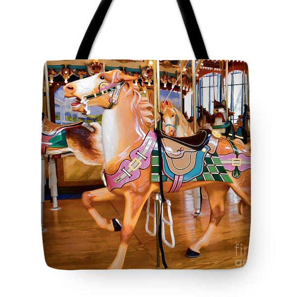 Tan Carousel Horse With Rabbit Tote Bag