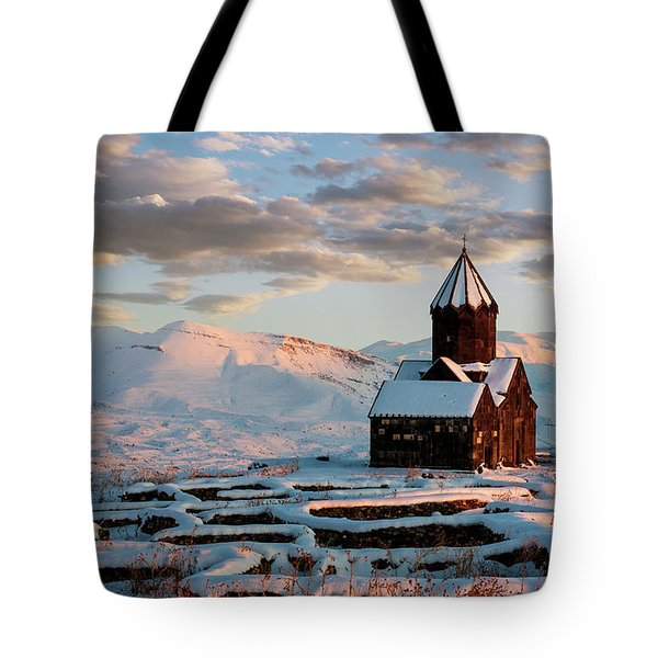 Tanahat Monastery At Sunset In Winter, Armenia Tote Bag