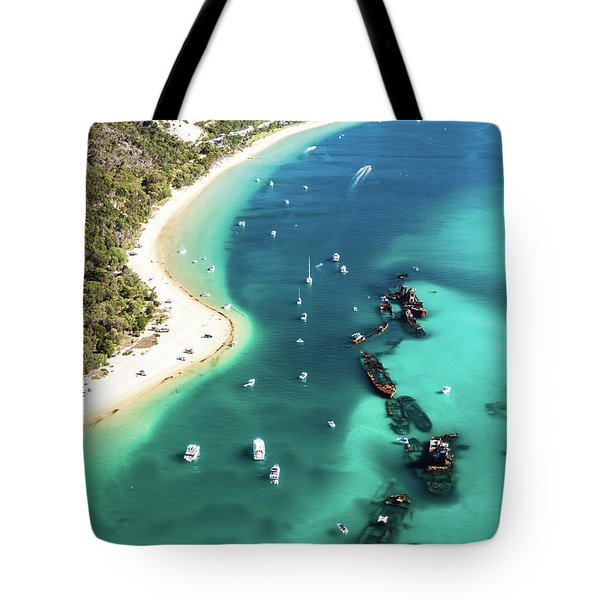 Tangalooma Wrecks Tote Bag by Peta Thames