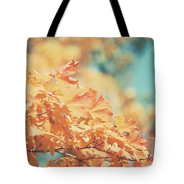 Tangerine Leaves And Turquoise Skies Tote Bag by Lisa Russo