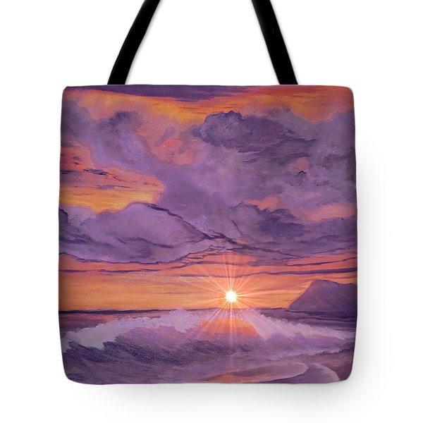 Tote Bag featuring the painting Tangerine Sky by Holly Martinson