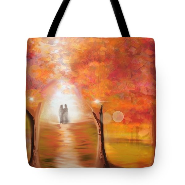Tote Bag featuring the digital art Tangerine Trees And Marmalade Skies #2 by Diana Riukas