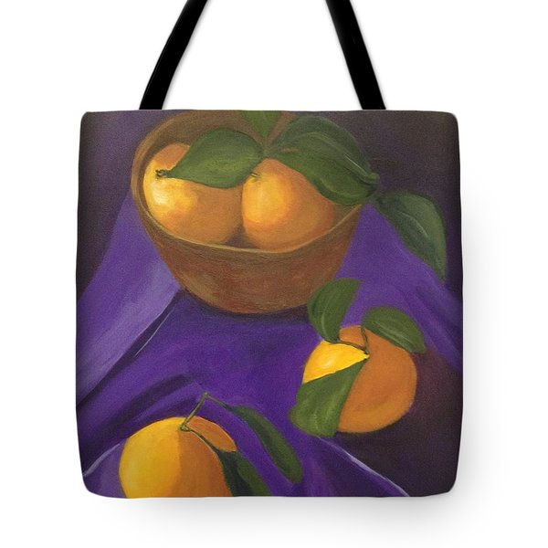 Tote Bag featuring the painting Tangerines On Purple by Patricia Cleasby