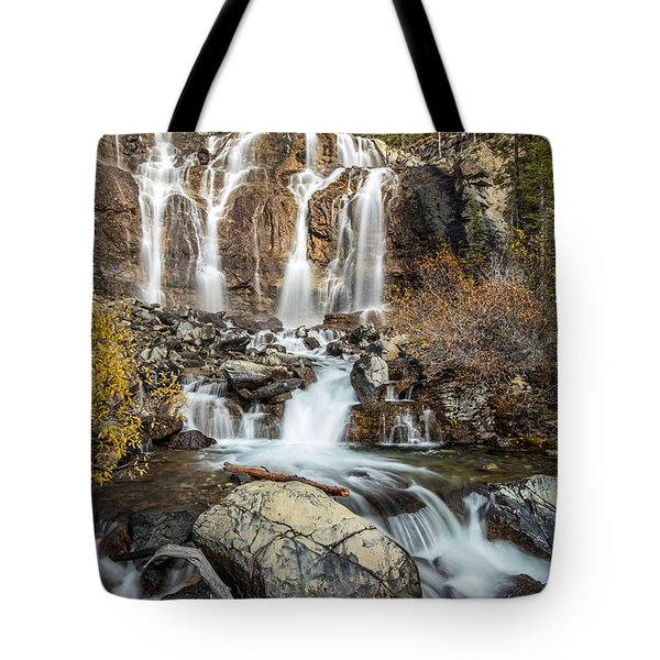 Tangle Waterfall On The Icefield Parkway Tote Bag