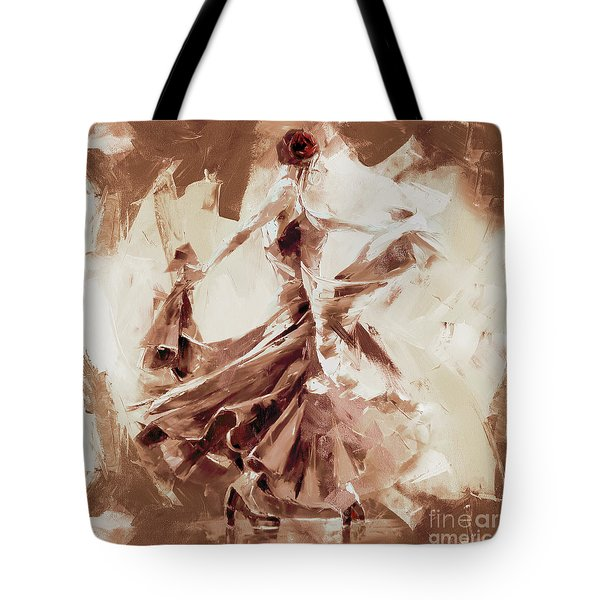 Tote Bag featuring the painting Tango Dance 9910j by Gull G