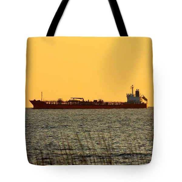 Tanker At Sunrise Tote Bag