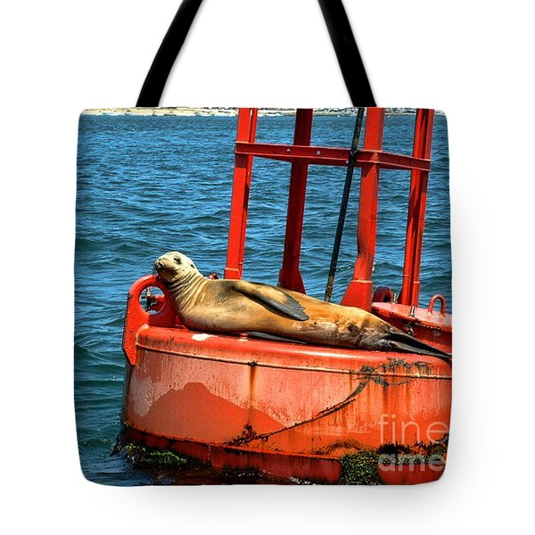 Tote Bag featuring the photograph Tanning Sea Lion On Buoy by Mariola Bitner