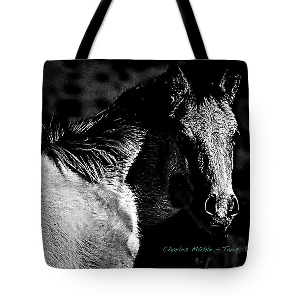 Taos Pony In B-w Tote Bag