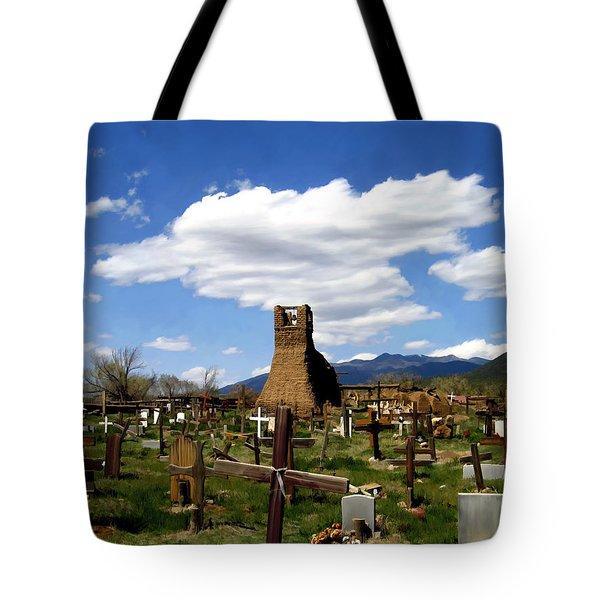 Taos Pueblo Cemetery Tote Bag by Kurt Van Wagner