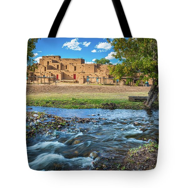 Taos Pueblo Creek Tote Bag