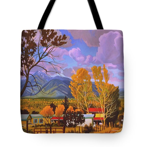 Taos Red Roofs Tote Bag