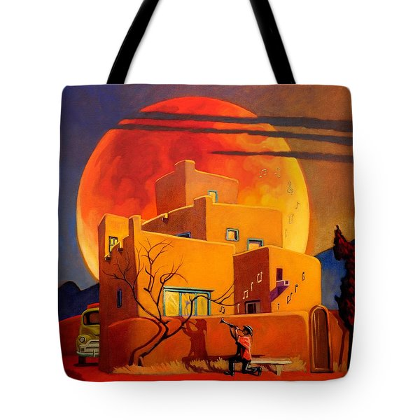 Tote Bag featuring the painting Taos Wolf Moon by Art West