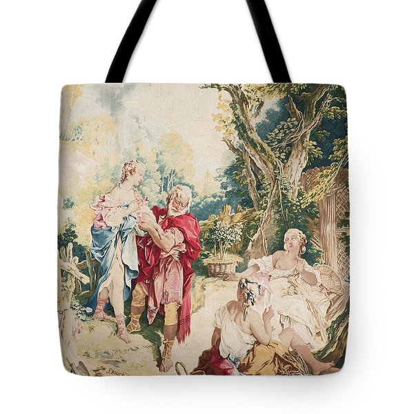 Tapestry Showing Psyche And The Basketmaker Tote Bag